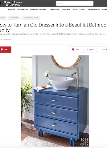 How to Turn an Old Dresser into a Beautiful Bathroom Vanity, BHG.com, June 2017