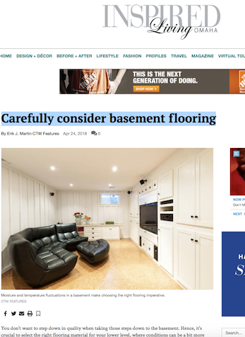 Carefully Consider Basement Flooring, Omaha.com, April 2018