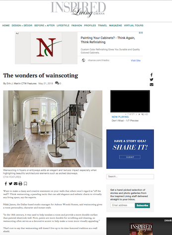 The Wonders of Wainscoting, Omaha.com, May 2018