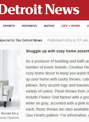 Snuggle up with cozy home accents, The Detroit News Online, January 9, 2020