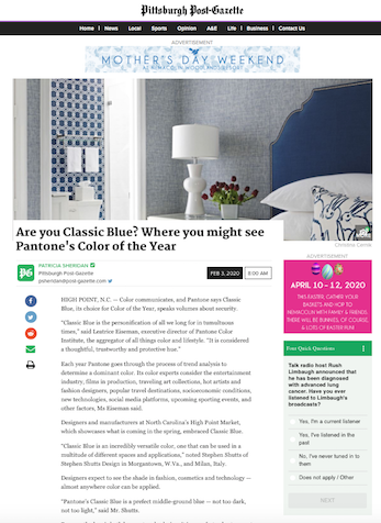 Are you Classic Blue? Where you might see Pantone's Color of the Year, Pittsburgh Post-Gazette, February 2020