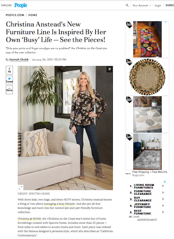 Christina Anstead's New Furniture Line Is Inspired By Her Own 'Busy' Life - See the Pieces!, People.com, January 26, 2021