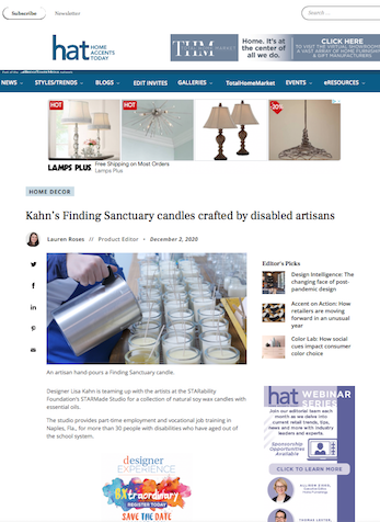 Kahn's Finding Sanctuary candles crafted by disabled artisans, Home Accents Today Online, December 2, 2020